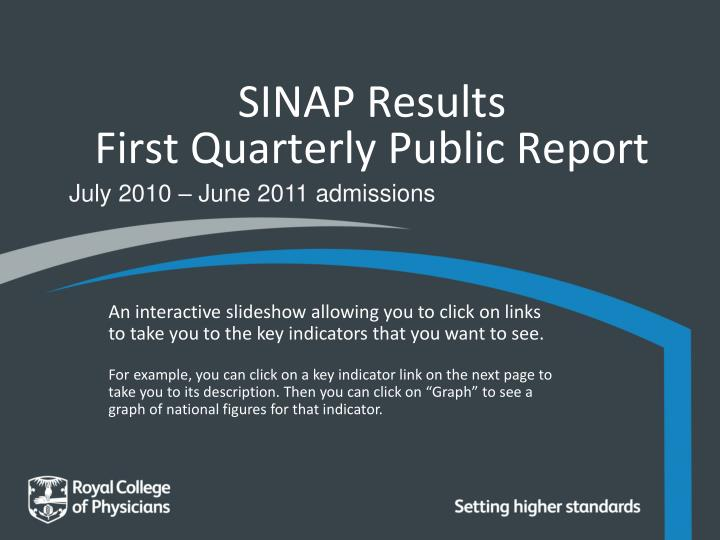 sinap results first quarterly public report n.