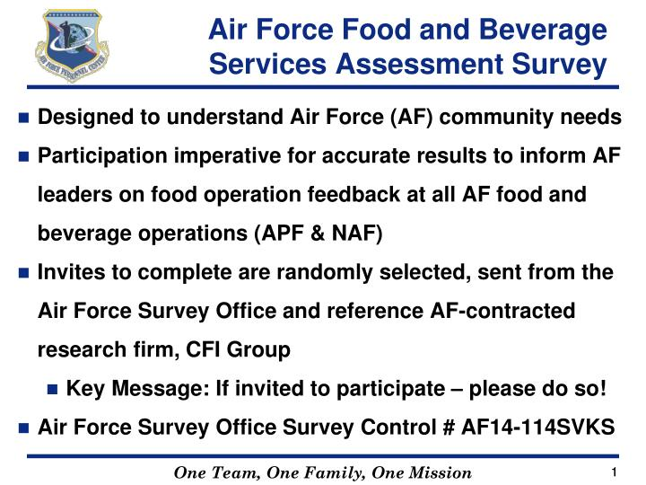 air force food and beverage services assessment survey n.