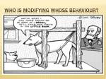 who is modifying whose behaviour