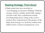 reading strategy think aloud
