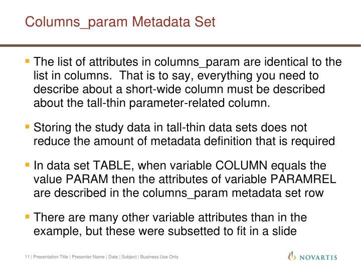 Columns_param Metadata Set