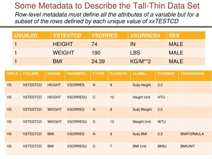 Some Metadata to Describe the Tall-Thin Data Set