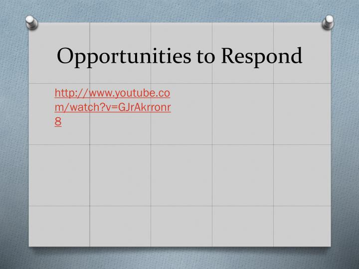 Opportunities to Respond