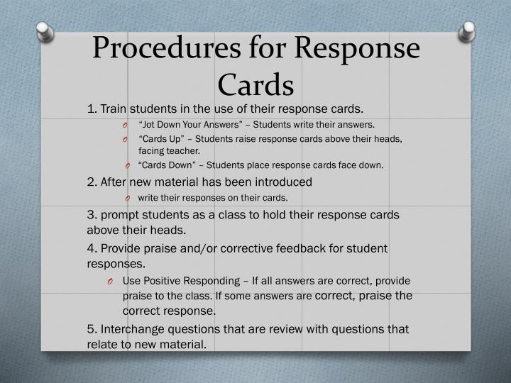 Procedures for Response Cards
