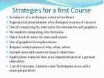 strategies for a first course