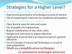 strategies for a higher level