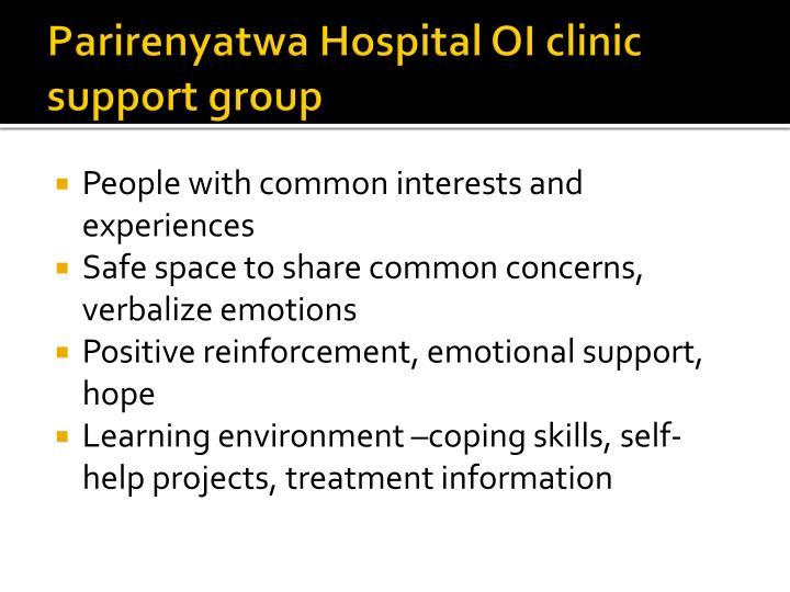 Parirenyatwa Hospital OI clinic support group