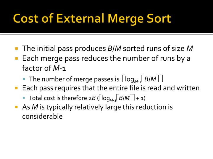 Cost of External Merge Sort