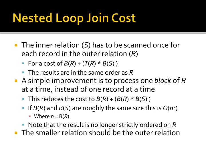 Nested Loop Join Cost