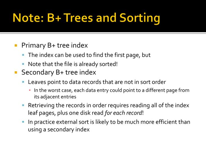 Note: B+ Trees and Sorting