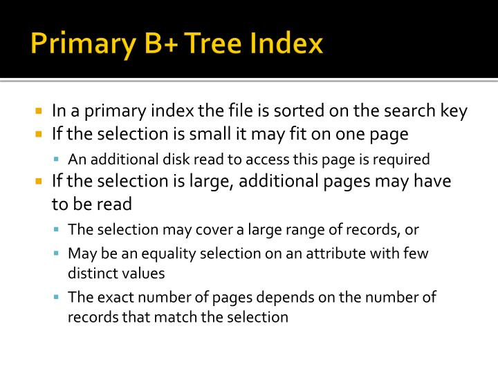 Primary B+ Tree Index