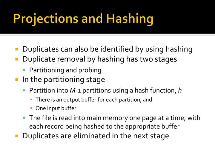 Projections and Hashing