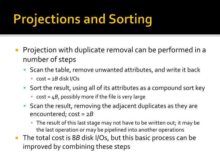Projections and Sorting