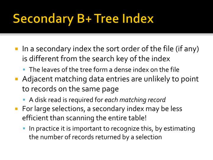 Secondary B+ Tree Index