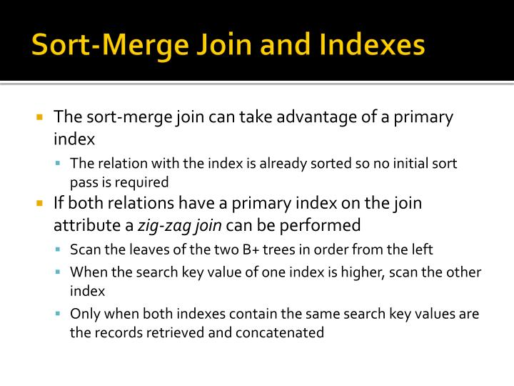 Sort-Merge Join and Indexes