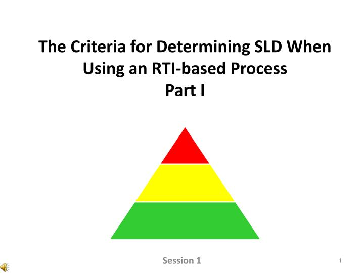 the criteria for determining sld when using an rti based process part i n.