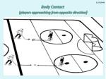 body contact players approaching from opposite direction