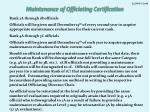 maintenance of officiating certification