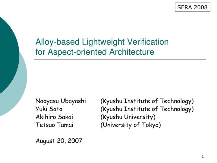 alloy based lightweight verification for aspect oriented architecture n.