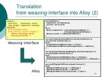translation from weaving interface into alloy 2