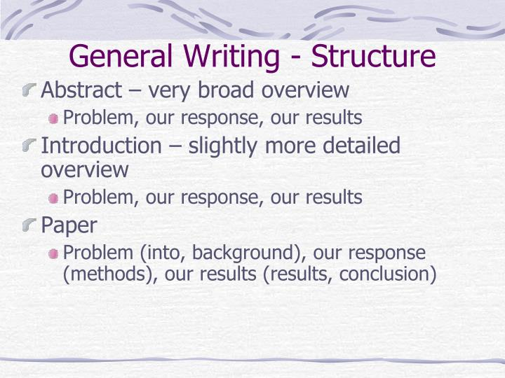 general writing structure n.