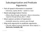 subcategorization and predicate arguments