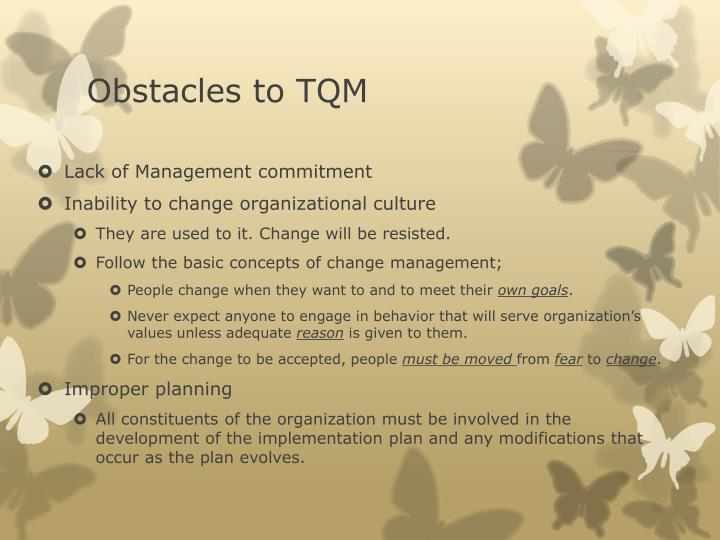 Obstacles to TQM