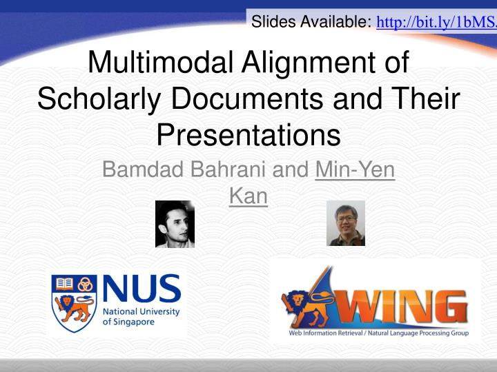 multimodal alignment of scholarly documents and their presentations n.