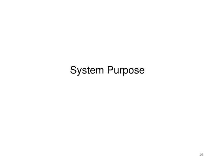 System Purpose