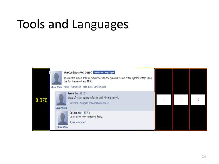 Tools and Languages