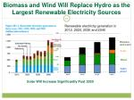 biomass and wind will replace hydro as the largest renewable electricity sources