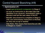 control hazard branching 4 9