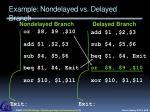example nondelayed vs delayed branch