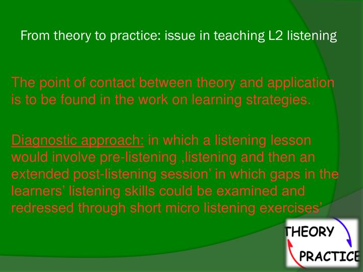 From theory to practice: issue in teaching L2 listening