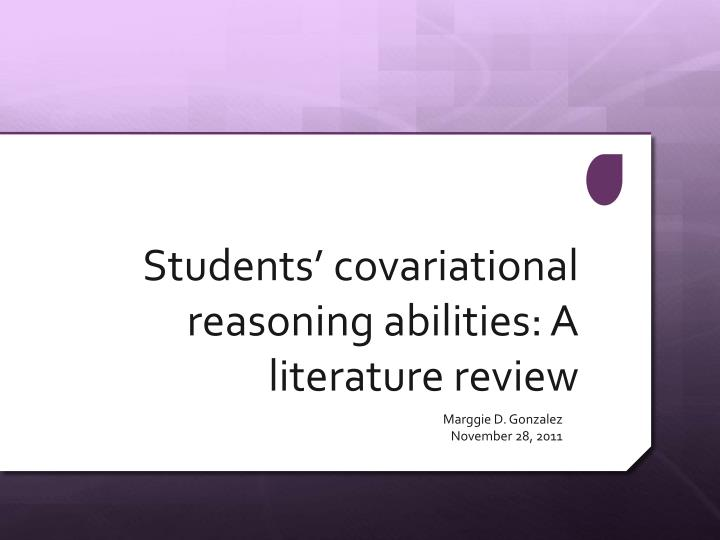 students covariational reasoning abilities a literature review n.