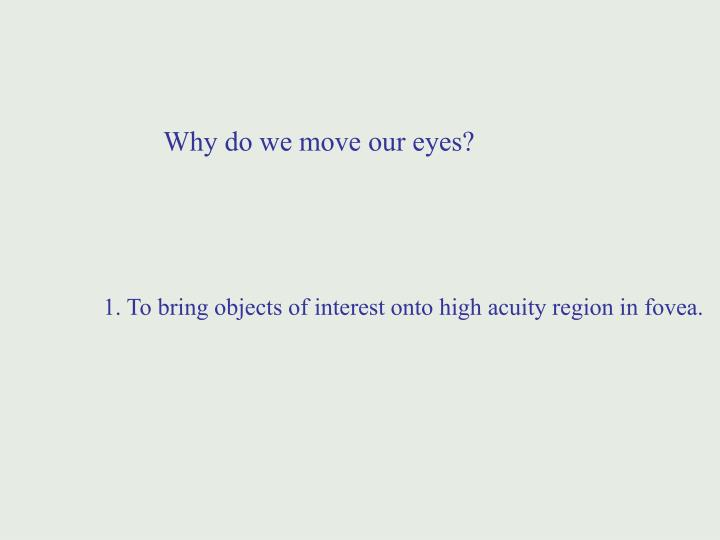 Why do we move our eyes?