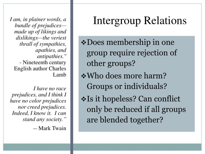 intergroup relations types of prejudice The neuroscience of prejudice and intergroup relations presents cutting-edge research by leading international scholars the volume is accessible to students and scholars both in intergroup relations and in neuroscience, but more importantly demonstrates to both groups the unique value and novel insights that can be derived from an integrative.