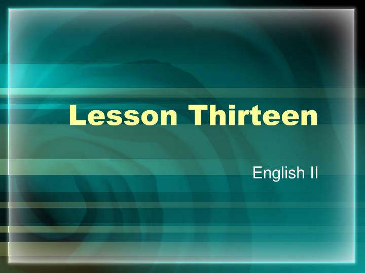 lesson thirteen n.
