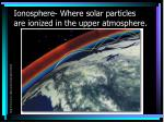 ionosphere where solar particles are ionized in the upper atmosphere