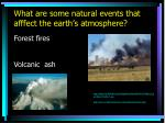 what are some natural events that afffect the earth s atmosphere