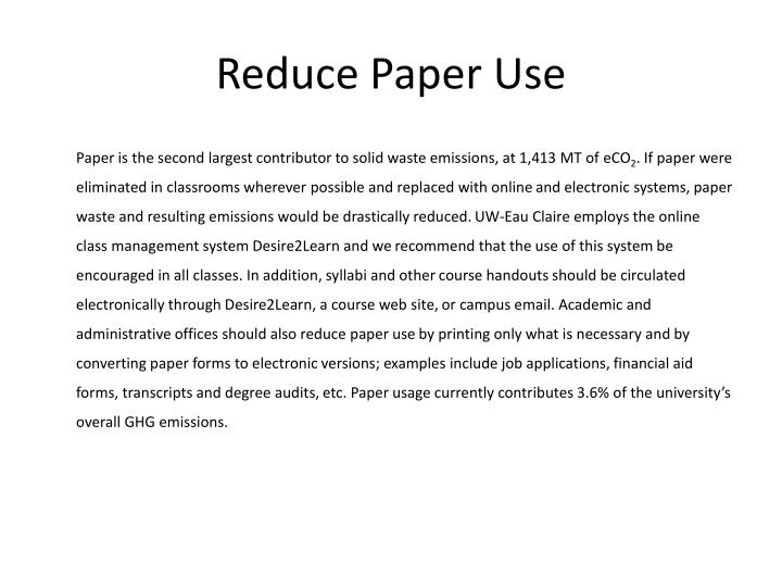 Reduce Paper Use
