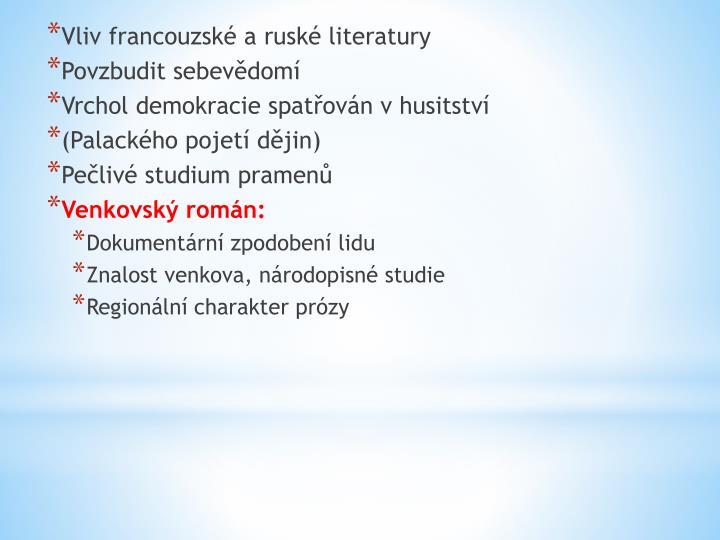 Vliv francouzské a ruské literatury