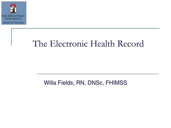 the electronic health record n.