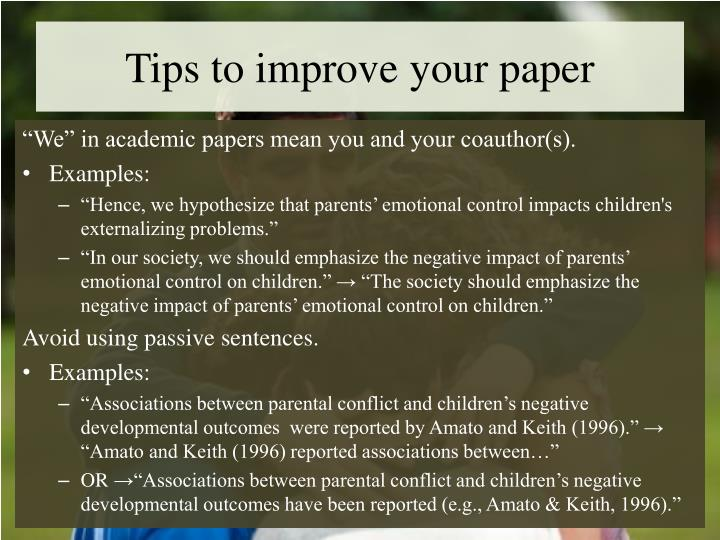 Tips to improve your paper