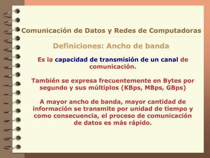 Comunicación de Datos y Redes de Computadoras