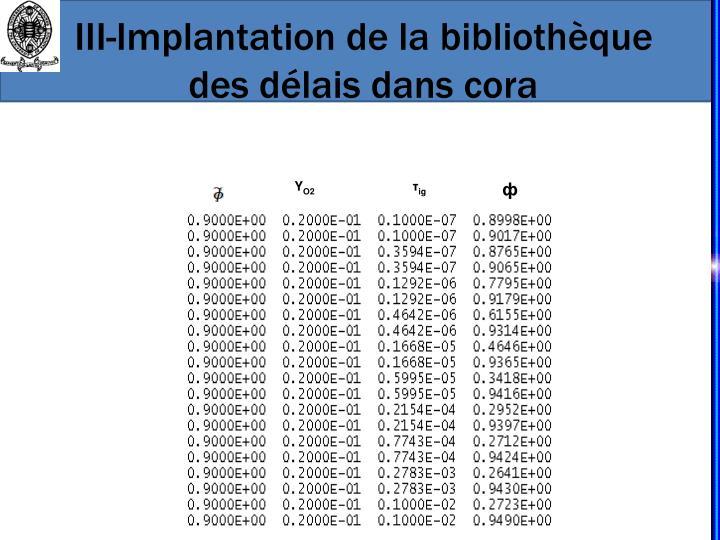III-Implantation de la bibliothèque des délais dans cora