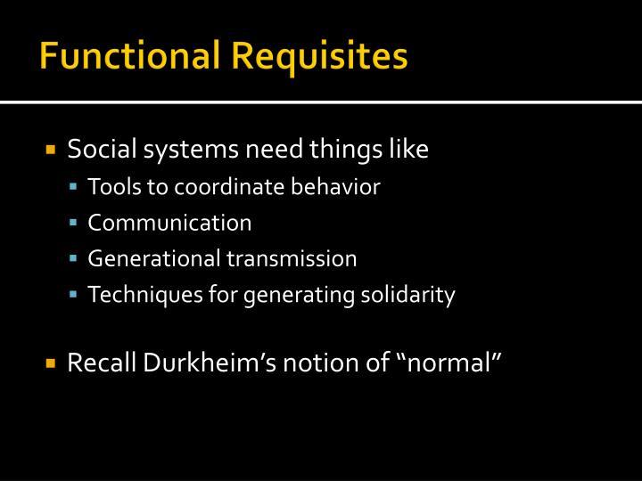 Functional Requisites