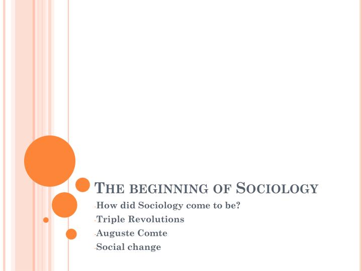 the beginning of sociology n.