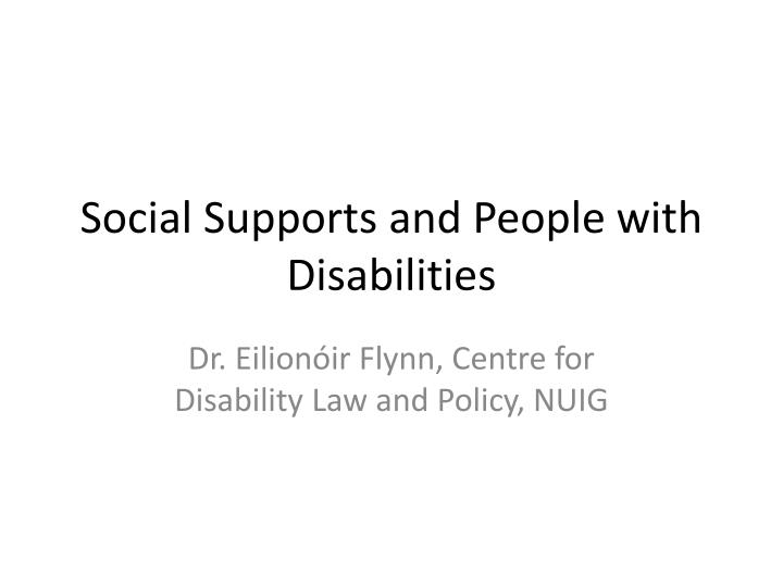 social supports and people with disabilities n.