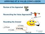 arriving at a value conclusion